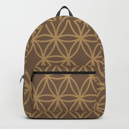 Retro Golden Circles HoneyComb Spirograph  - 60s Eames Era Minimalist Design Backpack