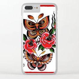 Tattoo Flash Butterfly Rose Clear iPhone Case
