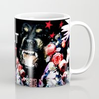 givenchy Mugs featuring Givenchy Antigona Rottweiler Art Print by Le' + WK$amahoodT Boutique by Paynasa®