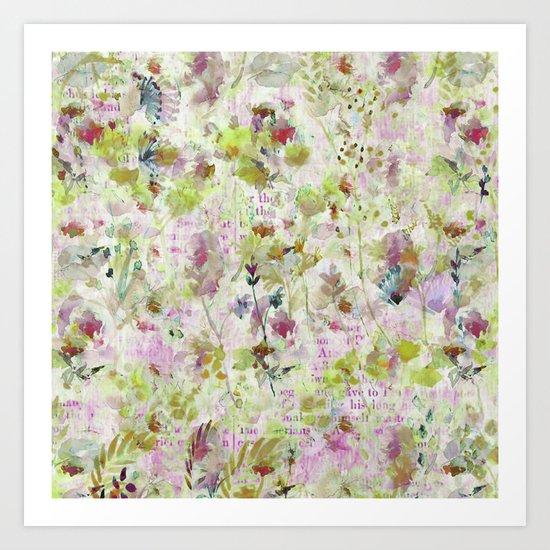 des fleurs et des mots Art Print