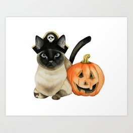 Halloween Siamese Cat with Jack O' Lantern Art Print