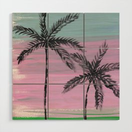 two palm trees sunset sky Wood Wall Art