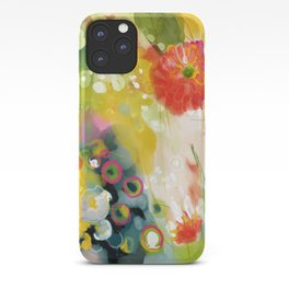abstract floral art in yellow green and rose magenta colors iPhone Case