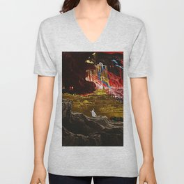 The Destruction of Sodom and Gomorrah Landscape Painting by Jeanpaul Ferro Unisex V-Neck