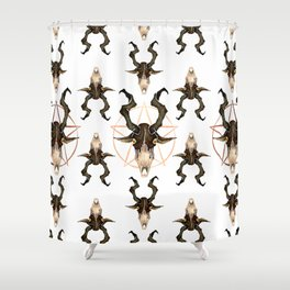 "Goat Skull Watecolor Design- Copper - "" The Witch"" / Chilling Adventures of Sabrina / Halloween Shower Curtain"