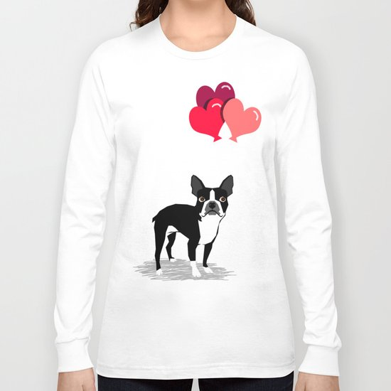 Boston Terrier Valentine heart balloons for pet owners and dog lovers gift for someone they love Long Sleeve T-shirt