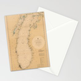 Map of Lake Michigan 1898 Stationery Cards