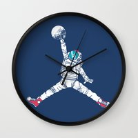 king Wall Clocks featuring Space dunk by Steven Toang