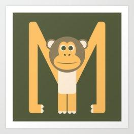 Letter M // Animal Alphabet // Monkey Monogram Art Print
