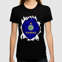 Kansas Jersey | Gift for Kansan, Jayhawk, KS Native Home State Flag T-shirt
