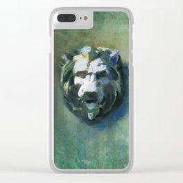 Lion Head Green Marble Clear iPhone Case