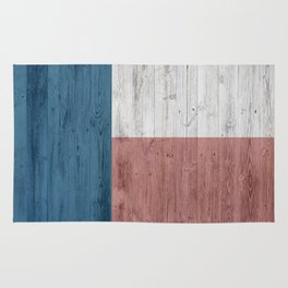 minimalist wooden Texas flag Rug