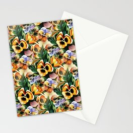 Aesthetic Pansies Watercolor Illustration Stationery Cards