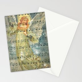 Christmas Angel Over House with Hymn Stationery Cards