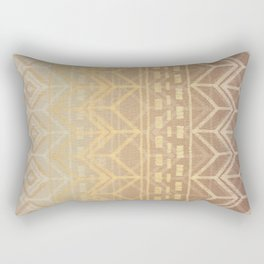 Neutral Tan & Gold Tribal Ikat Pattern Rectangular Pillow