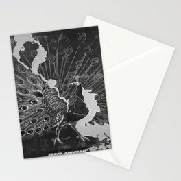 retro monochrome Peacock vintage poster Stationery Cards