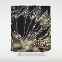 gold glitter Shower Curtains featuring glitter and gold by Bonnie Jakobsen-Martin