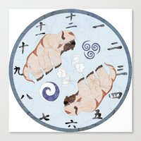 the last airbender Canvas Prints featuring Avatar The Last Airbender Air Clock Face by Art of Sara