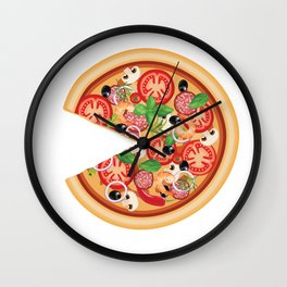 Pizza with Missing Slice Matching Couples T-Shirt Wall Clock