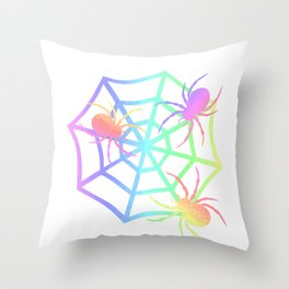 Pastel Spider And Web Throw Pillow