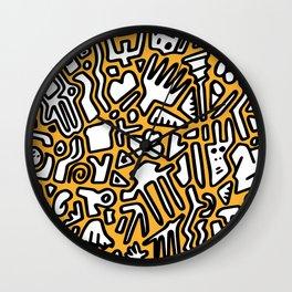 black doodle on orange Wall Clock