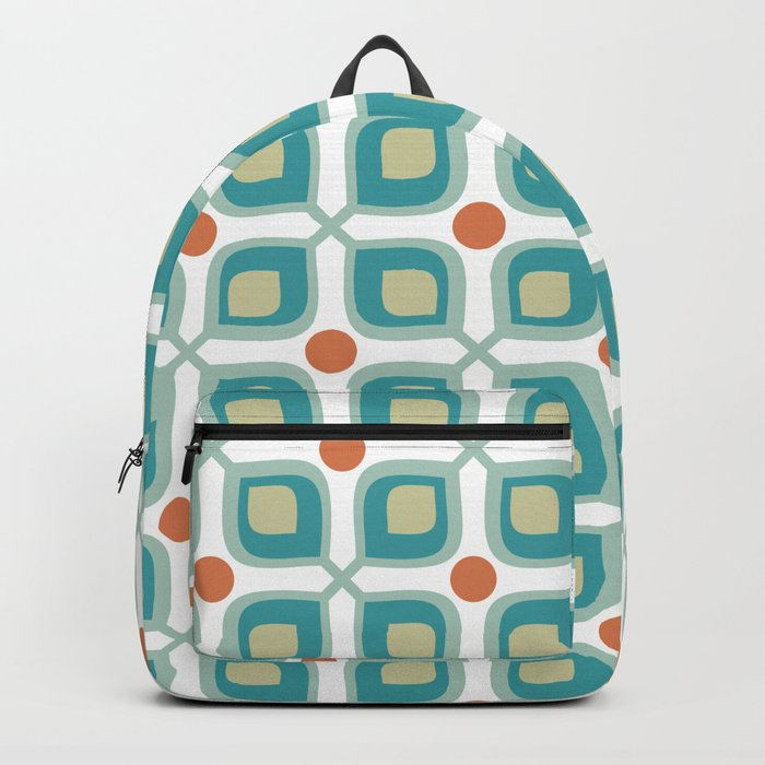 Abstract Flower Pattern Mid Century Modern Retro Turquoise Orange Backpack