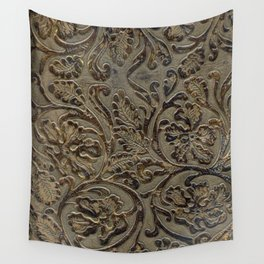Olive & Brown Tooled Leather Wall Tapestry