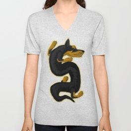 Dragon Dog 1  - Minpin Unisex V-Neck
