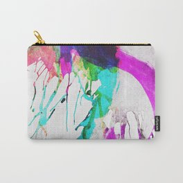 Modern pink teal black watercolor splatters Carry-All Pouch