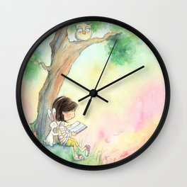 Brunette Girl Reading to Bunny at Sunset Wall Clock