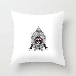 Skull Indian Chief Axe Logo Hand Drawing Style Throw Pillow