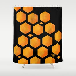 Bee in a Honeycomb Shower Curtain
