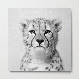 Cheetah - Black & White Metal Print