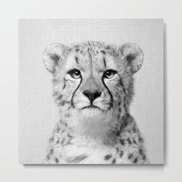 Cheetah - Black & White Metal Print