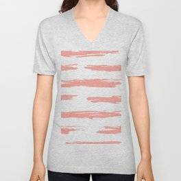 Pretty Pink Brush Stripes Horizontal Unisex V-Neck