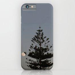 Araucaria tree, full moon, flight of birds iPhone Case