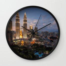 Petronas Towers By Night Wall Clock