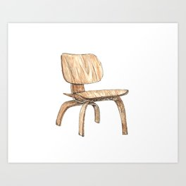 Eames Plywood Lounge Chair Watercolor and Pen and Ink Art Print