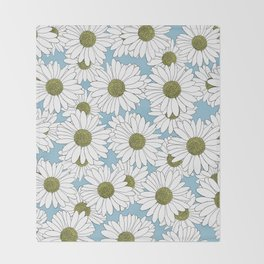 Daisy Blue Throw Blanket