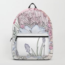 Abstract face with flowers watercolor drawing. Backpack