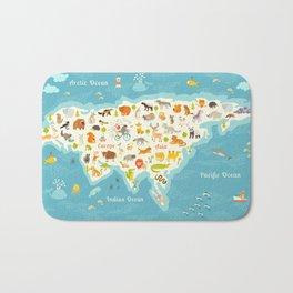 The most detailed animals world map, Eurasia. Also, birds, ocean life, reptiles, and mammals. Beauti Bath Mat