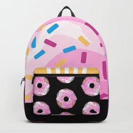 Pink Donut on Black Backpack
