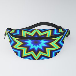 Yellow Green and Blue Psychedelic Star Pattern Fanny Pack