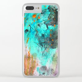 Hand painted teal orange black watercolor Clear iPhone Case