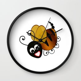 Bee in Black Wall Clock