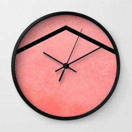 Chevron - Peach/Black, Textured Wall Clock