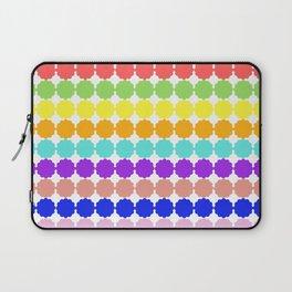 Stylized round multi-colored flowers (white background) Laptop Sleeve