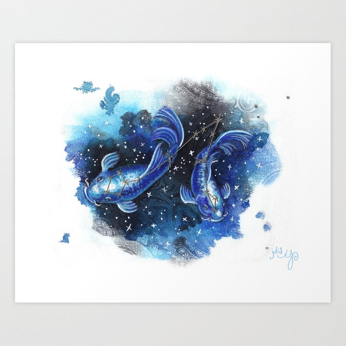 Pisces the Fishes- Zodiac Art Print