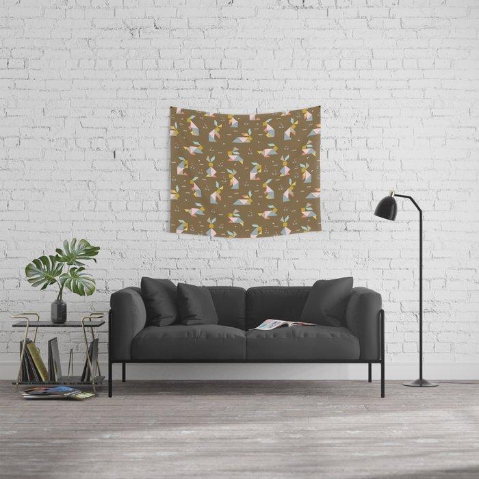 Tangram Bunnies M+M Nutmeg by Friztin Wall Tapestry