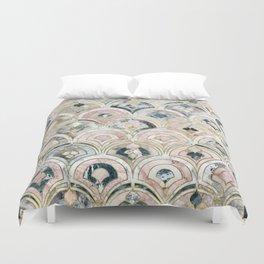 Art Deco Marble Tiles in Soft Pastels Duvet Cover